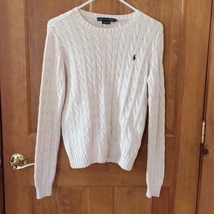 Ralph Lauren cream cable knit crew neck sweater